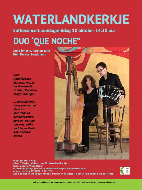 Koffieconcert: zondagmiddag 10 oktober 2021 om 14.30 uur in het kerkje van Waterlandkerkje
